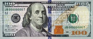 Новые сто долларов США (аверс) 2009 год, 100$