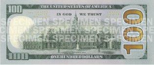 Новые сто долларов США (реверс) 2009 год, 100$