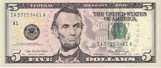 Пять долларов США (аверс), 5$