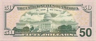 Новые пятьдесят долларов США (реверс), 50$